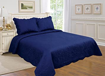 All For You 3 Piece Reversible Bedspread/ Coverlet / Quilt Set With  Embroideries (