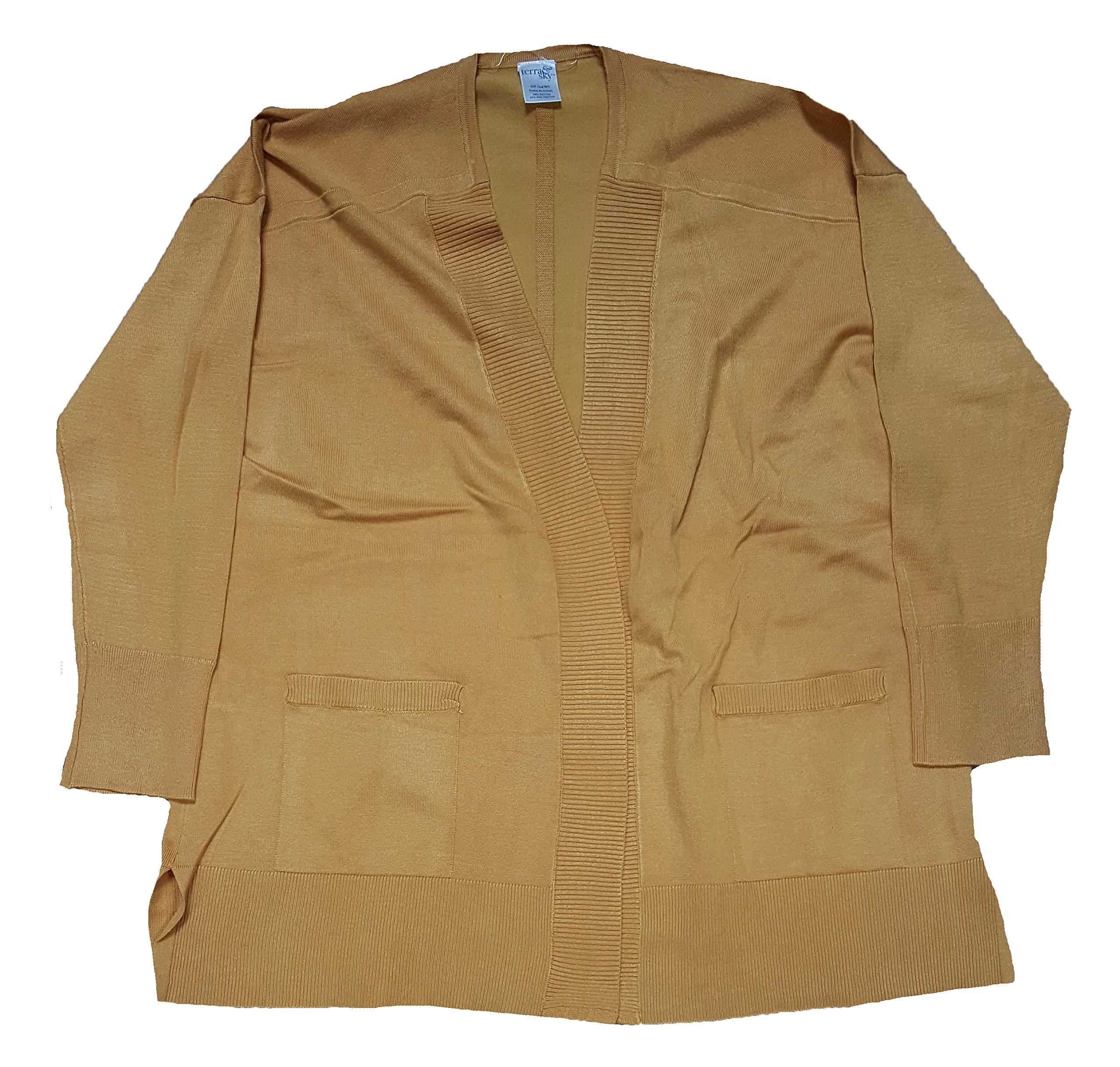 Terra & Sky Women's Plus Size Ochre Harvest Fine Gauge Long Sleeve Cardigan - 0X