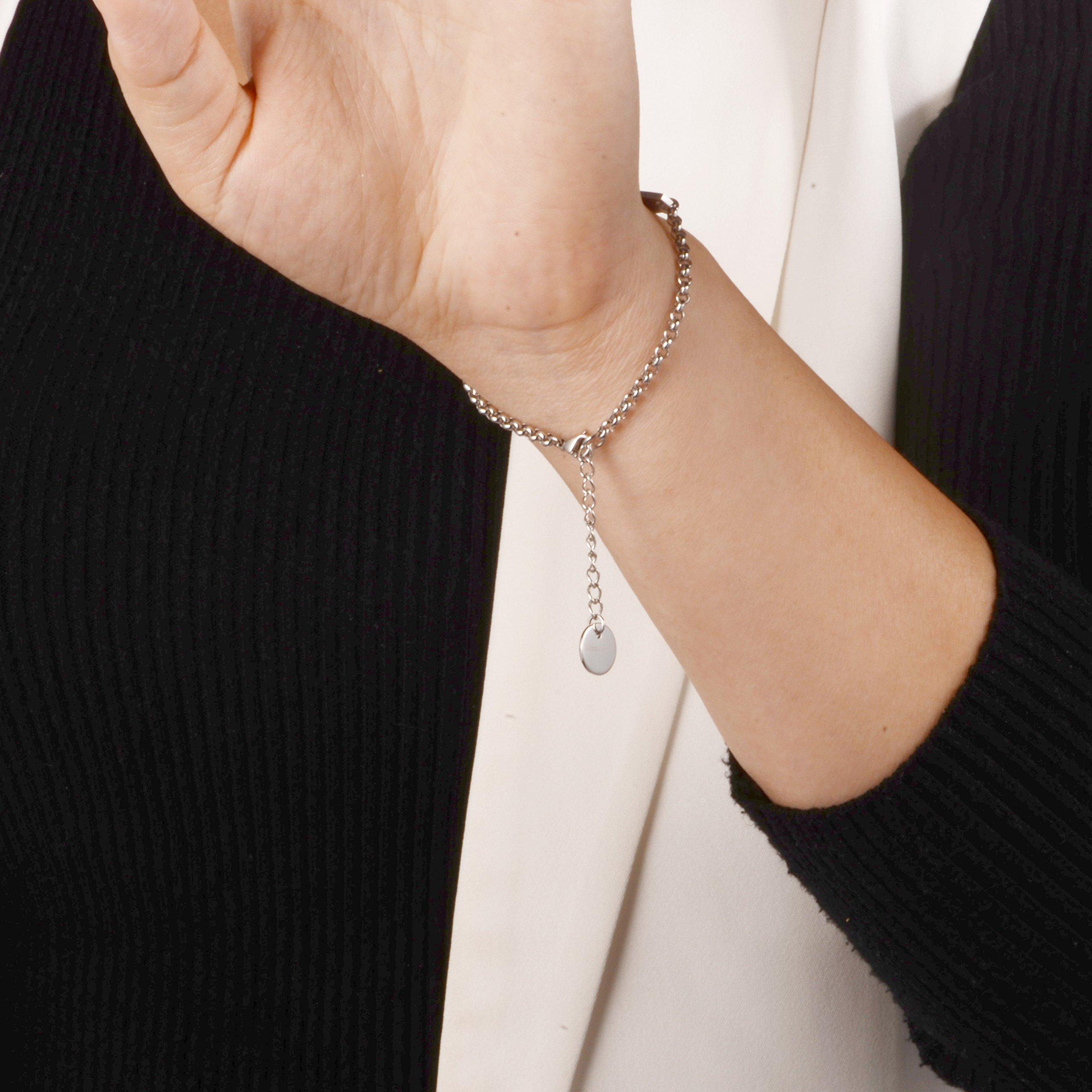 linnalove-Pre-Engraved Diabetes Type 2 Gold Simple Rolo Chain Medical Bracelet for Women & Girl by linnalove (Image #3)