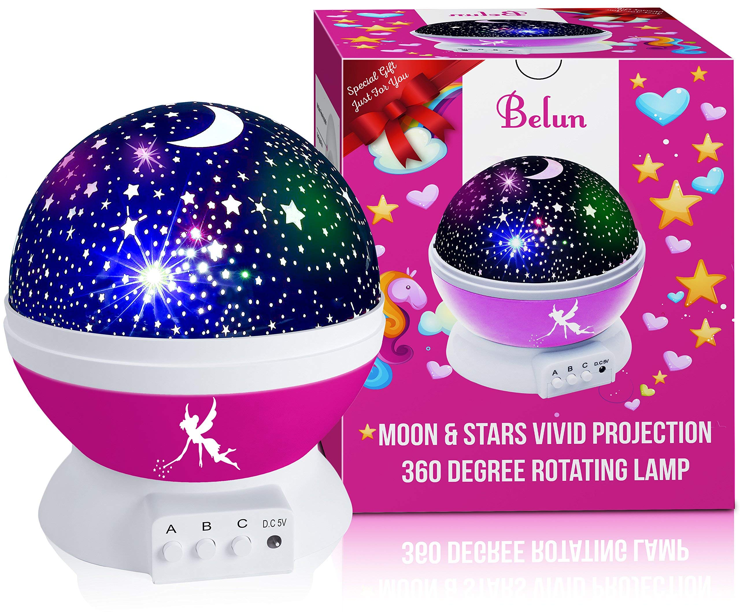Kids Night Light for Girls, Boys, Babies, Toddlers, 4 LED Bulbs Moon Star Projector Night Light Lamp for Kids Bedroom, Nursery -Bonus Wall Charger, 4.9 ft USB Cable, Best Gift Idea Ever BELUN (Pink)