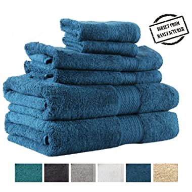 Premium 6 piece Towel Set- 2 Extra Large Bath Towels 2 Hand Towel 2 Washcloth Soft Cotton 600 GSM Highly Absorbent by Avira Home(Blue)