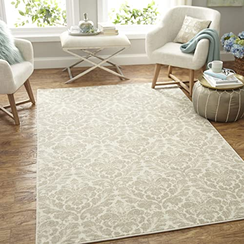 Mohawk Home Prismatic Bonjour Damask Linen Printed Contemporary Area Rug, 5 x8 Ivory