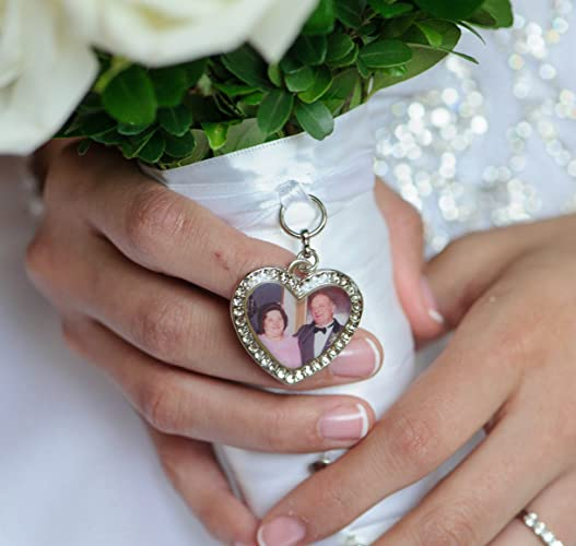 wedding bouquet charm bridal keepsake heart personalized custom photo or image