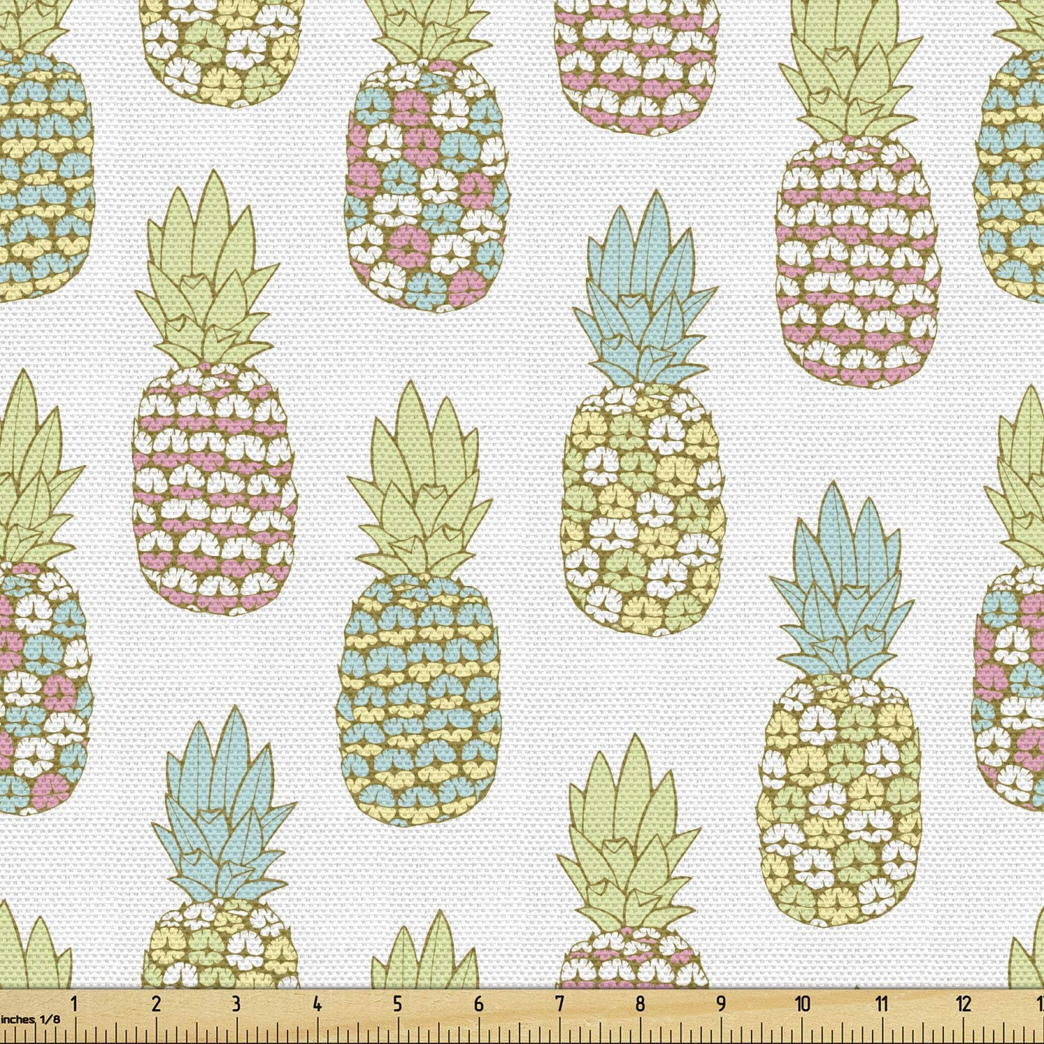 Ambesonne Pineapple Fabric by The Yard, Tropical Fruit Pattern in Pastel Colors Juicy Nutritious and Ripe Summer Food, Decorative Fabric for Upholstery and Home Accents, 3 Yards, Pale Green