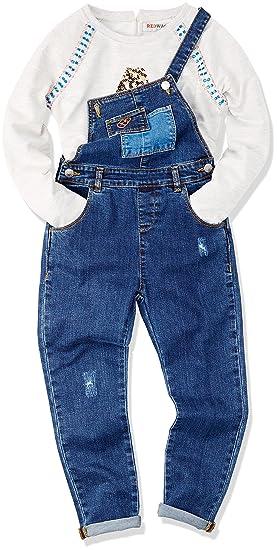 330bfe16a REDWAGON Dungaree - pantalones de peto Niñas, Azul (Blue), 5 años ...