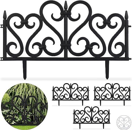 Relaxdays Set de 4 separadores de jardín, Valla Decorativa, con Ornamentos, Altura de 28 cm, Negro: Amazon.es: Jardín