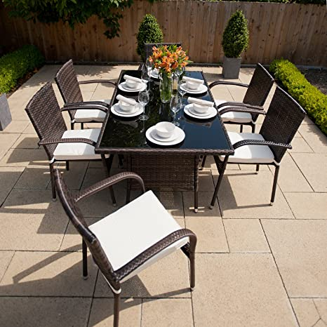 Greenfingers Rattan 6 Armchair 150cm Rectangular Garden Furniture Set    Black Coffee  Amazon co uk  Garden   Outdoors. Greenfingers Rattan 6 Armchair 150cm Rectangular Garden Furniture