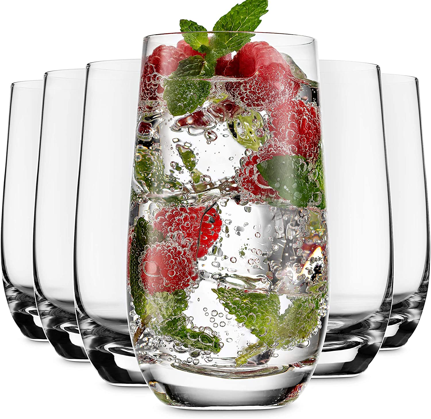 MITBAK 13- OZ Highball Glasses (Set of 6) | Lead Free Drinking Glasses Tumblers for Mixed Drinks, Water, Juice, beer, cocktail | Glassware Set, Excellent Gift | Made in slovakia