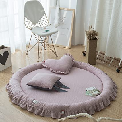 Amazon Com Doldoa Kids Round Rug Baby Play Mat For Game Rooms