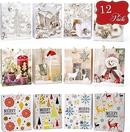 3 x Mini Rose Luxe Sacs Cadeau Décoratif Solide Glitter papier de Noël Cadeaux