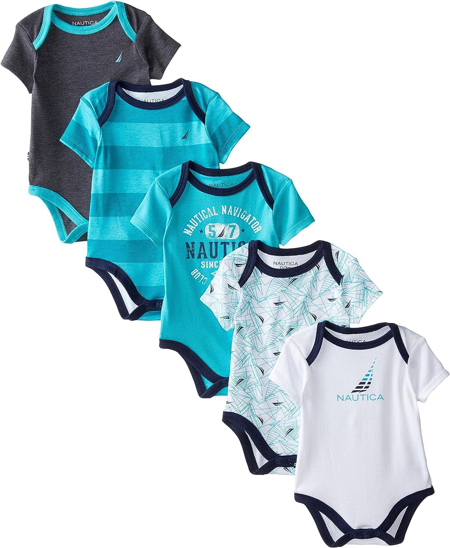 Nautica Boys Newborn Five-Pack Bodysuits