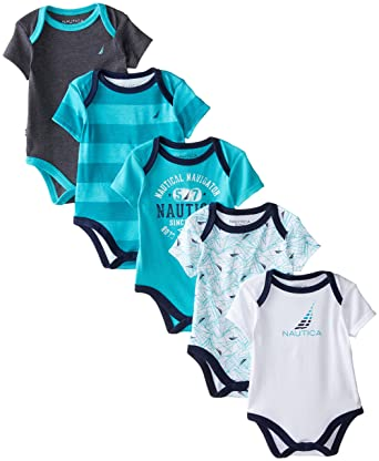 Nautica Baby-Boys Newborn 5 Pack Graphic Printed Bodysuit, Assorted, 0-3 Months