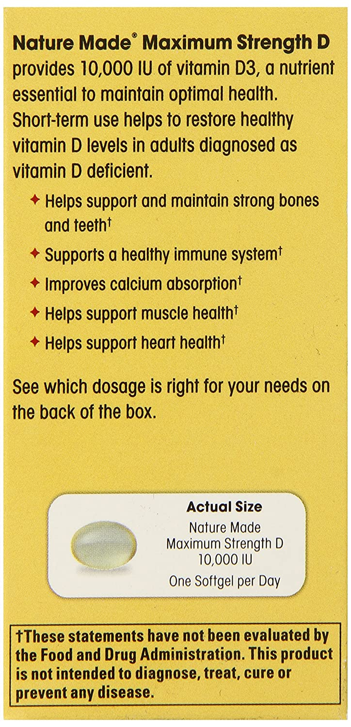 Amazon.com: Nature Made Maximum Strength Vitamin D3 10,000 I.U. Soft gel,  60 Count: Health & Personal Care