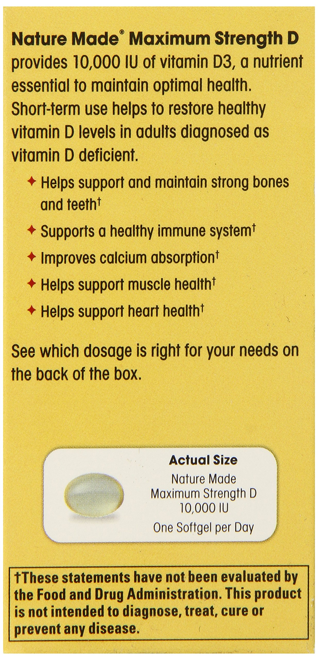 Nature Made Maximum Strength Vitamin D3 10,000 I.U. Soft gel, 60 Count by Nature Made (Image #6)
