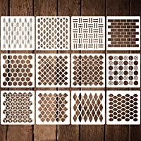 12 Pack Geometric Stencils 12 Inches Reusable Art Templates Plastic Painting Stencils for Walls Floors Canvas Wood…