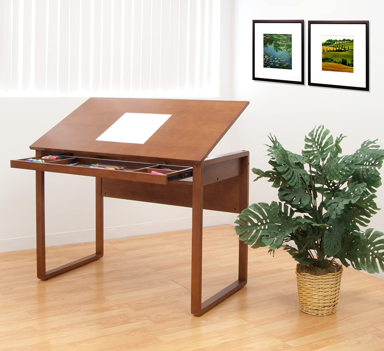 Amazon.com: Studio Designs Ponderosa Wood Topped Table In Sonoma Brown  13285: Arts, Crafts U0026 Sewing