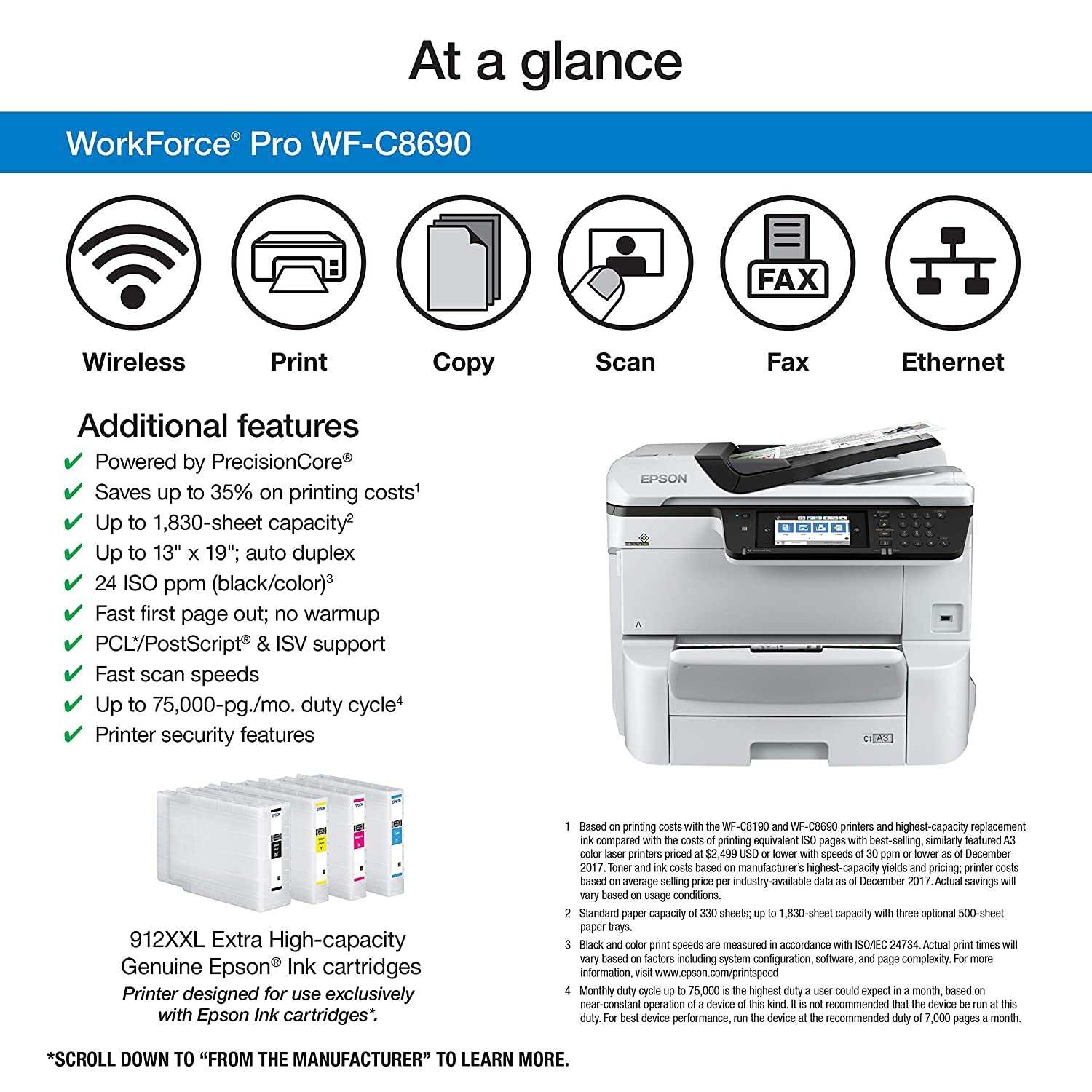 Amazon.com : Epson Workforce Pro WF-C8690 A3 Multifunction ...