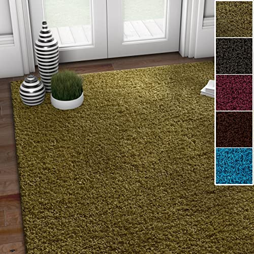 Well Woven Soft and Fluffy Non-Skid Slip Rubber Back Antibacterial Shag Rug 5×7 5 x 7 Solid Color Print Pistachio Green Area Rug Carpet