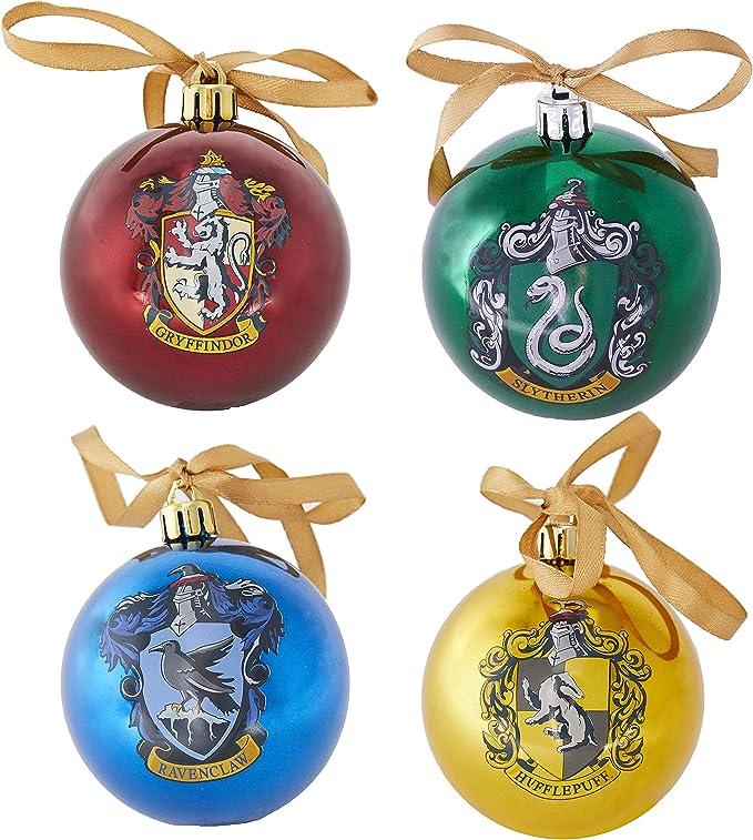 Paladone PP6750HP Harry Potter Hogwarts-Juego de 4 Bolas de Adorno, Multicolor, Talla única