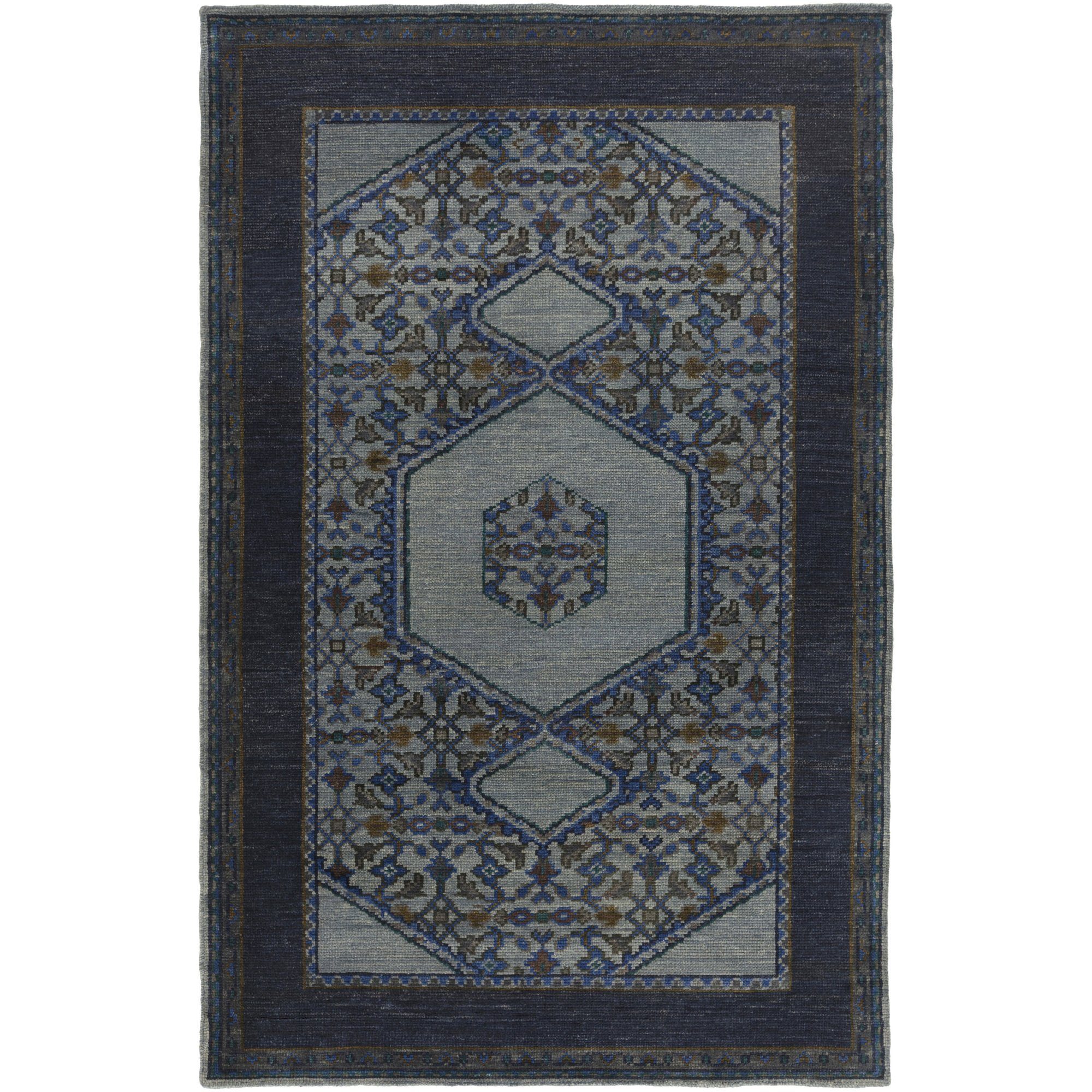 Surya HVN1218-23 Hand Knotted Casual Accent Rug, 2 by 3-Feet, Slate/Navy/Gray/Teal/Olive/Mocha/Forest