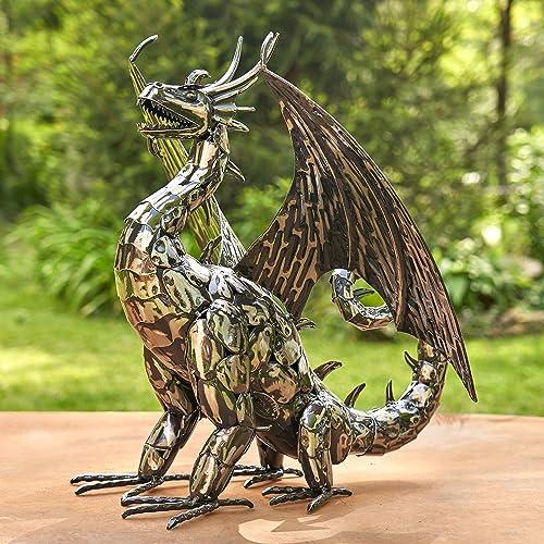Zaer Ltd. Metal Dragon Statue Decoration High Wing