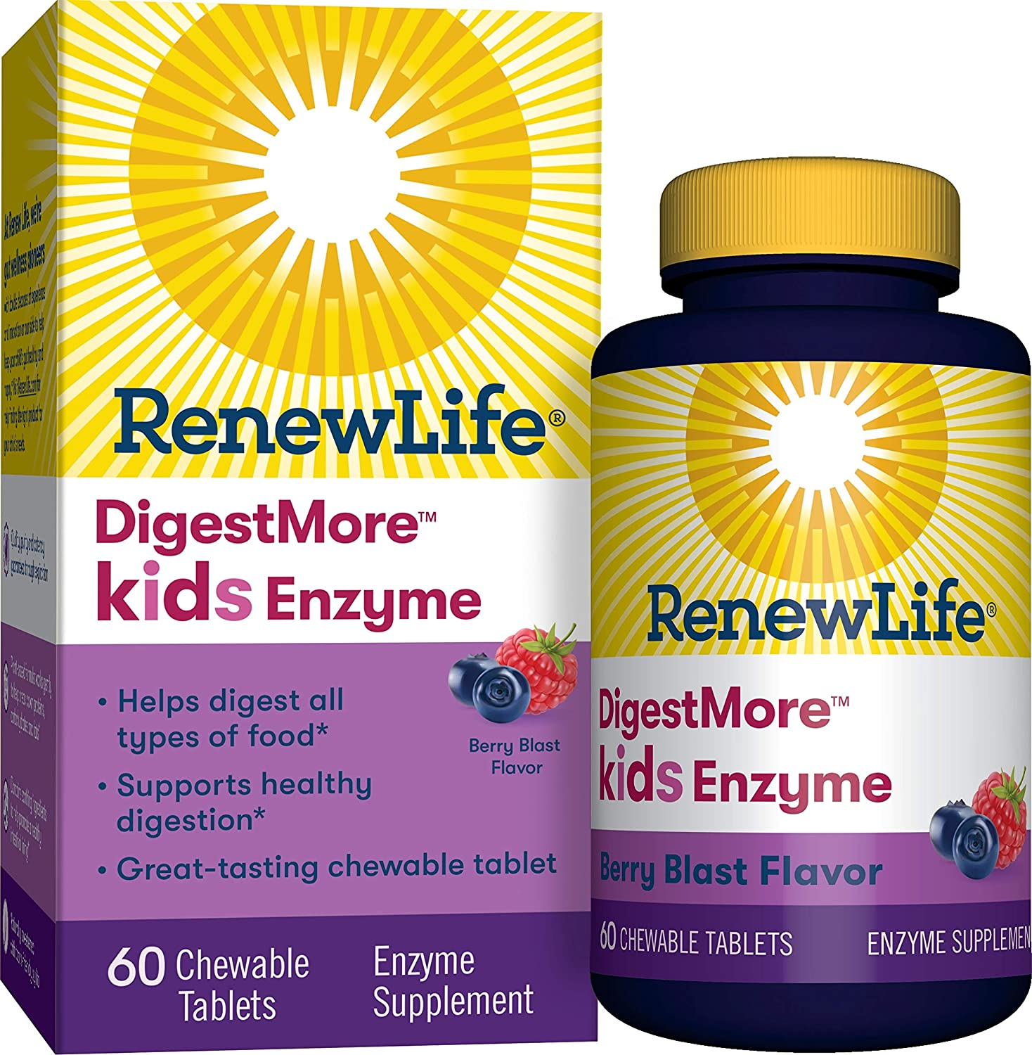 Renew LifeKids Digestive Plant-Based Enzyme Supplement - DigestMore Kids Enzyme, Berry Blast - 60 Chewable Tablets