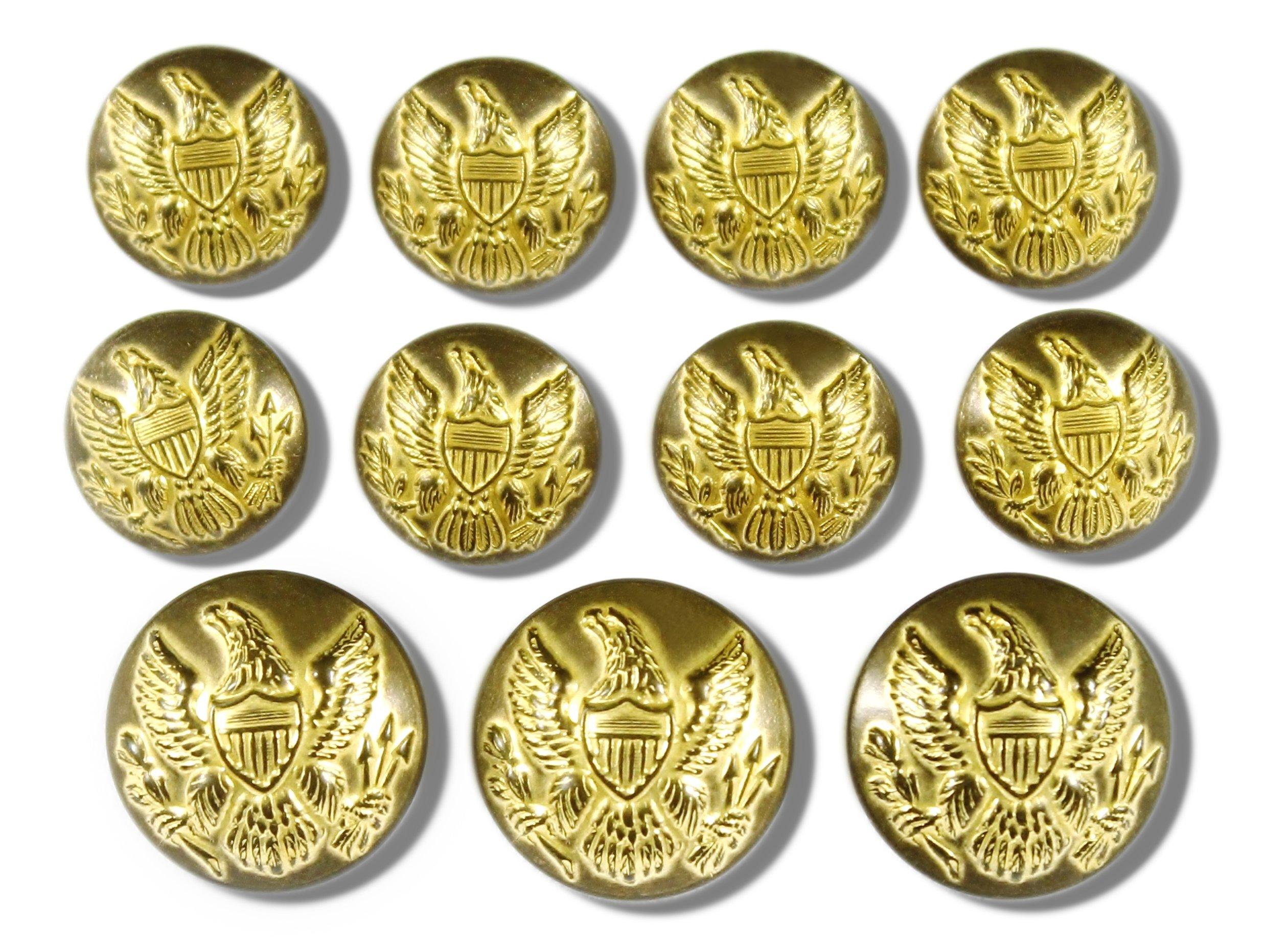 Premium WATERBURY Metal ~Vintage Gold 11-Piece Single Breasted~ American Civil WAR ~Union Army Eagle Emblem~ Uniform Sport Coat Jacket Shank Style Blazer Button Set ~ MetalBlazerButtons.com by Waterbury