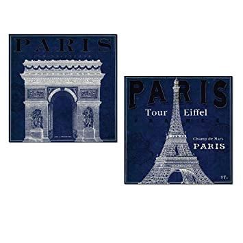 Amazon beautiful blueprint pariss eiffel tower arc de triomphe beautiful blueprint pariss eiffel tower arc de triomphe landmark set by sue schlabach two 12x12in malvernweather Gallery