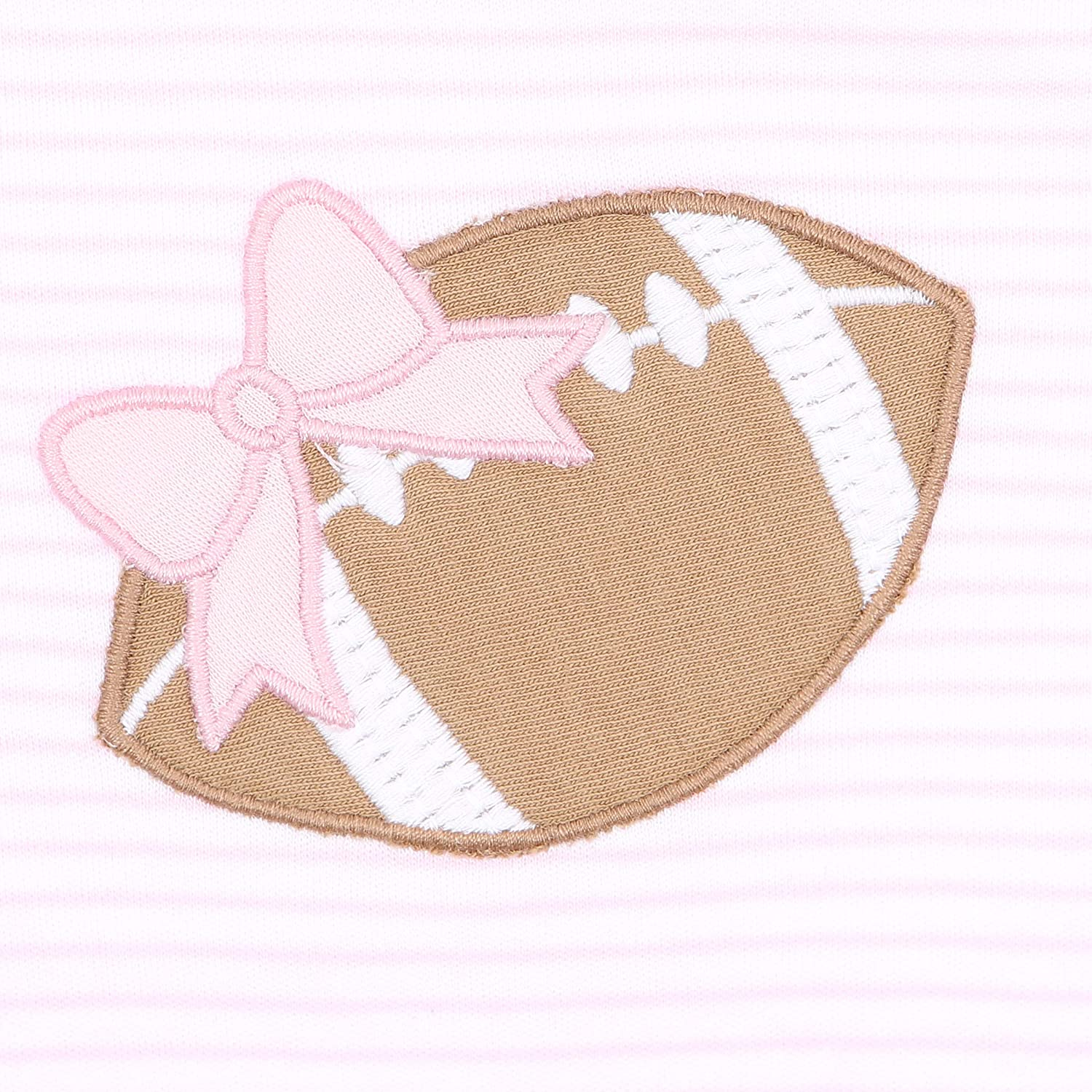 Magnolia Baby Baby Girl Love Football Applique Hat Pink