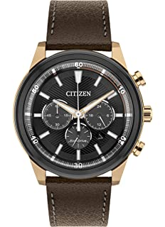e74b3bc8761 Citizen Watch Men s Solar Powered with Black Dial Analogue Display and Brown  Leather Strap CA4346-