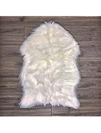 Faux Fur Sheepskin Rug U2013 White, Furry Rugs For Vanity Seats Chairs Cover    Plain