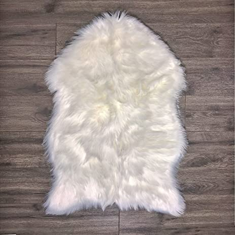 Faux Fur Sheepskin Rug U2013 White, Furry Rugs For Vanity Seats Chairs Cover    Plain