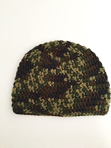 3d23d391183 Amazon.com  Crochet beanie hat in green camo camouflage yarn size adult  large  Handmade
