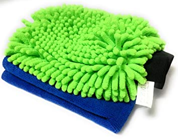 Sobby Microfiber Cleaning Glove with 1 Microfibre Cloth (1 pc Single Sided Large Chenille Glove - 1 pc 40cm x 40 cm Thick Drying Cloth)