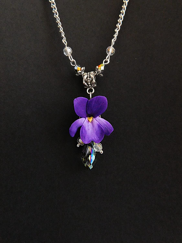Amazon Violet Necklace Flower Necklace Purple Pendant