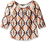 My Michelle Girls' Big Printed Blouse with Tie Front and Lace Yoke and Shoulder Seam, Multi, Small