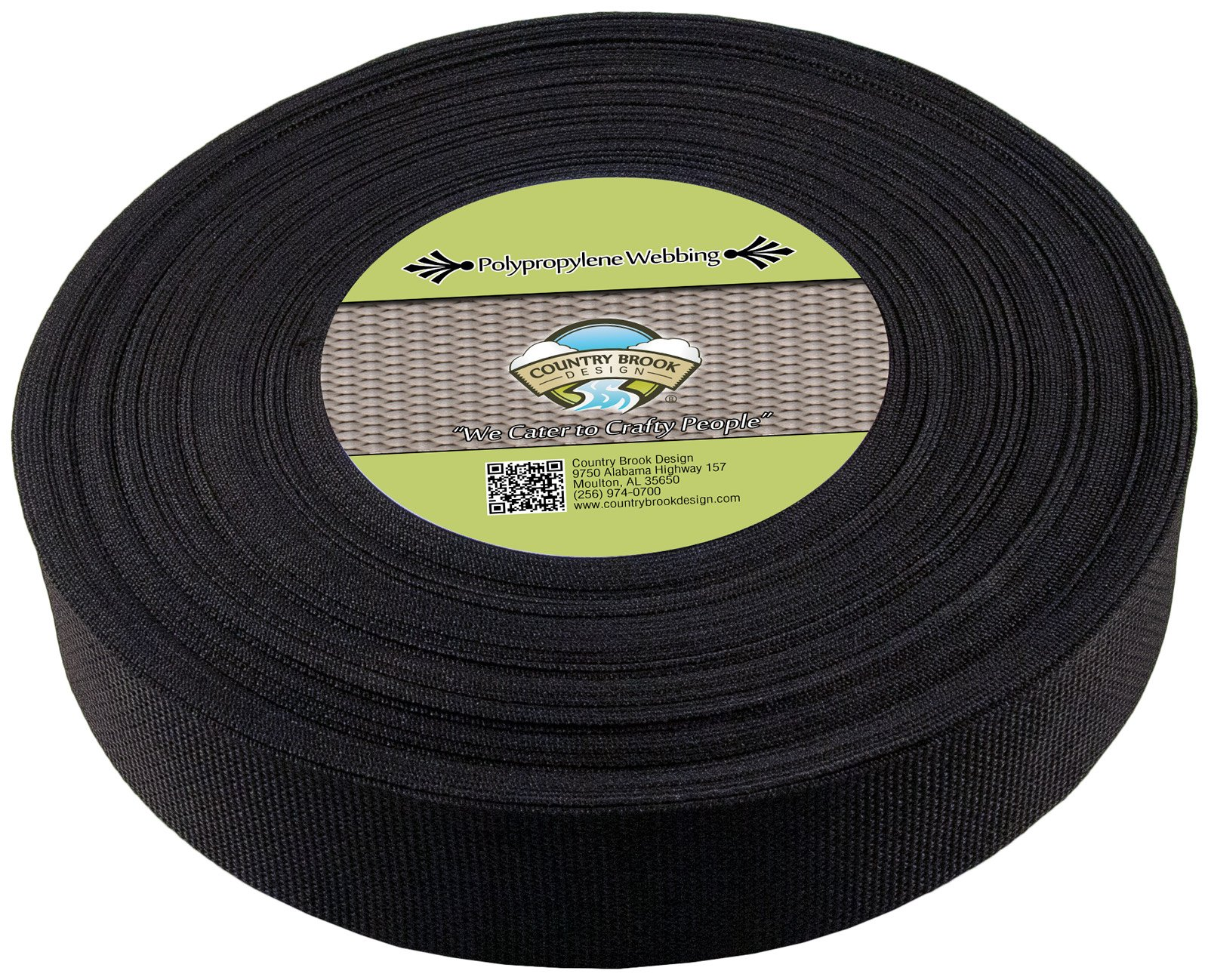 Country Brook Design - 2 Inch Black Heavy Polypropylene (Polypro) Webbing, 25 Yards