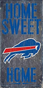 Buffalo Bills Official NFL 14.5 inch x 9.5 inch Wood Sign Home Sweet Home by Fan Creations 048326