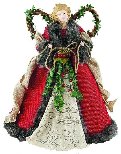 "Santa's Workshop 3096 Homespun Angel Tree Topper, 16"", Red best Christmas tree toppers"