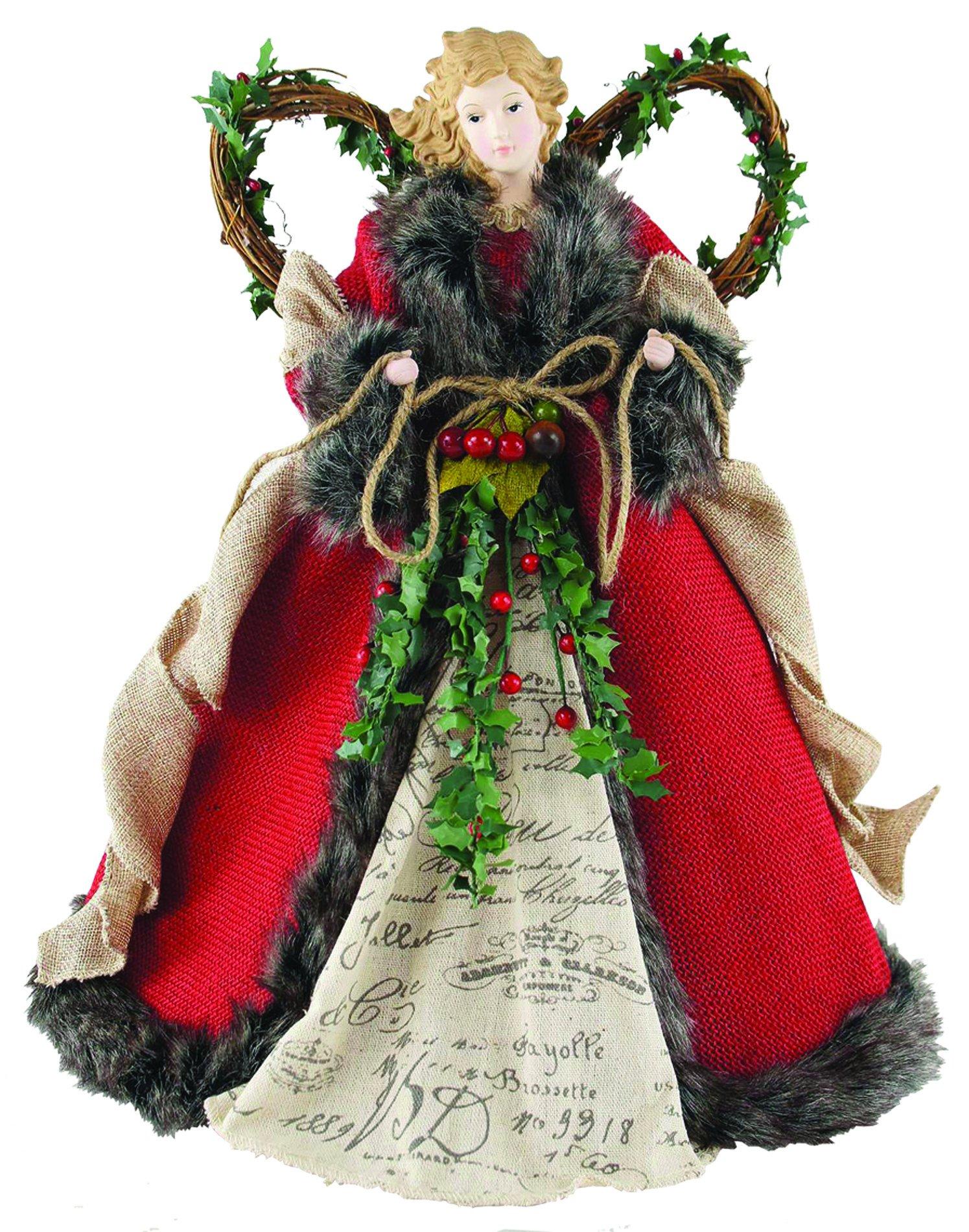 Santa's Workshop 3096 Homespun Angel Tree Topper, 16'', Red,16''