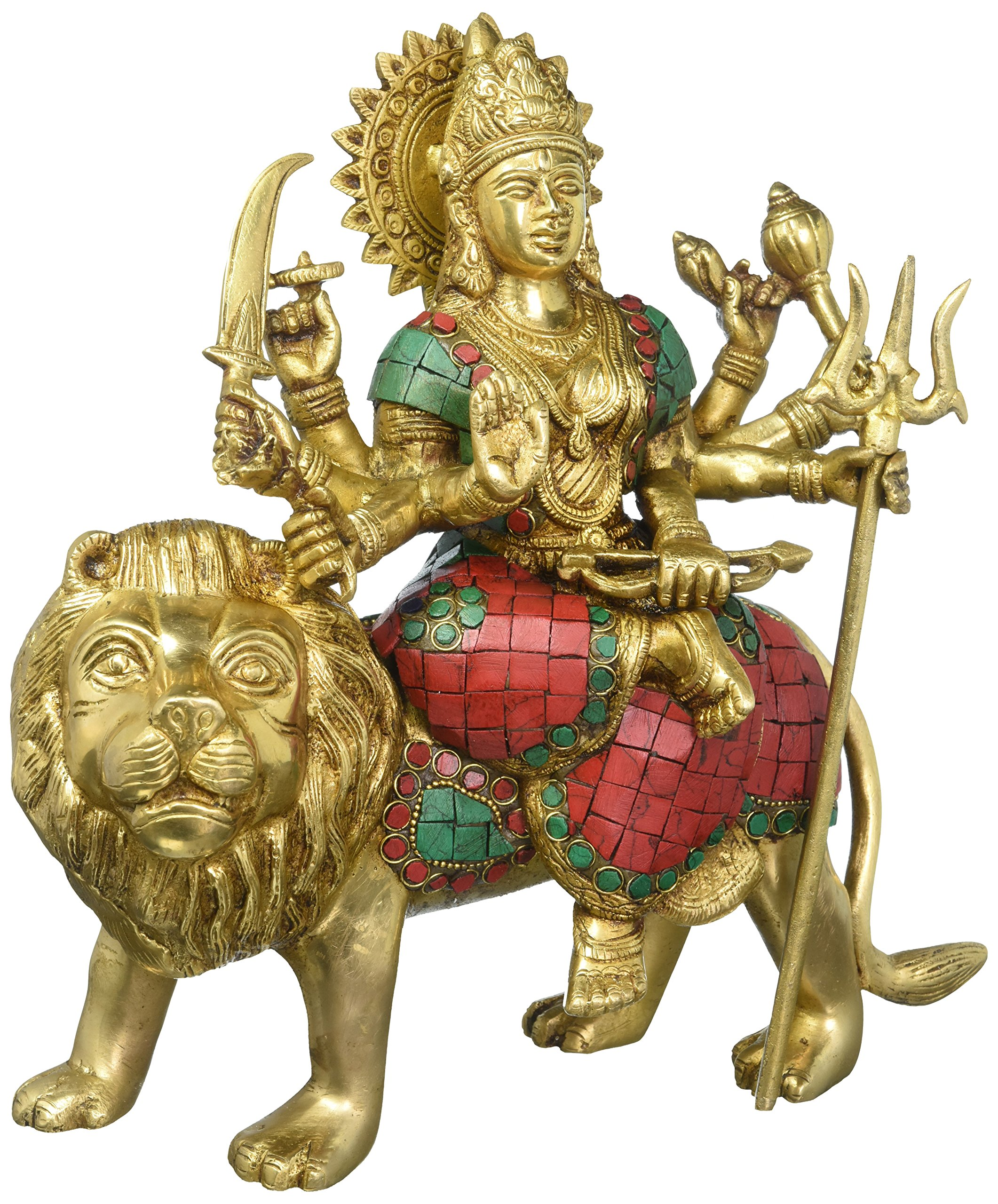 Aone India 11'' Large Durga Idol Hindu Goddess Brass Sculpture Maa Durga Kali Statue Diwali Decor Gifts + Cash Envelope (Pack Of 10)