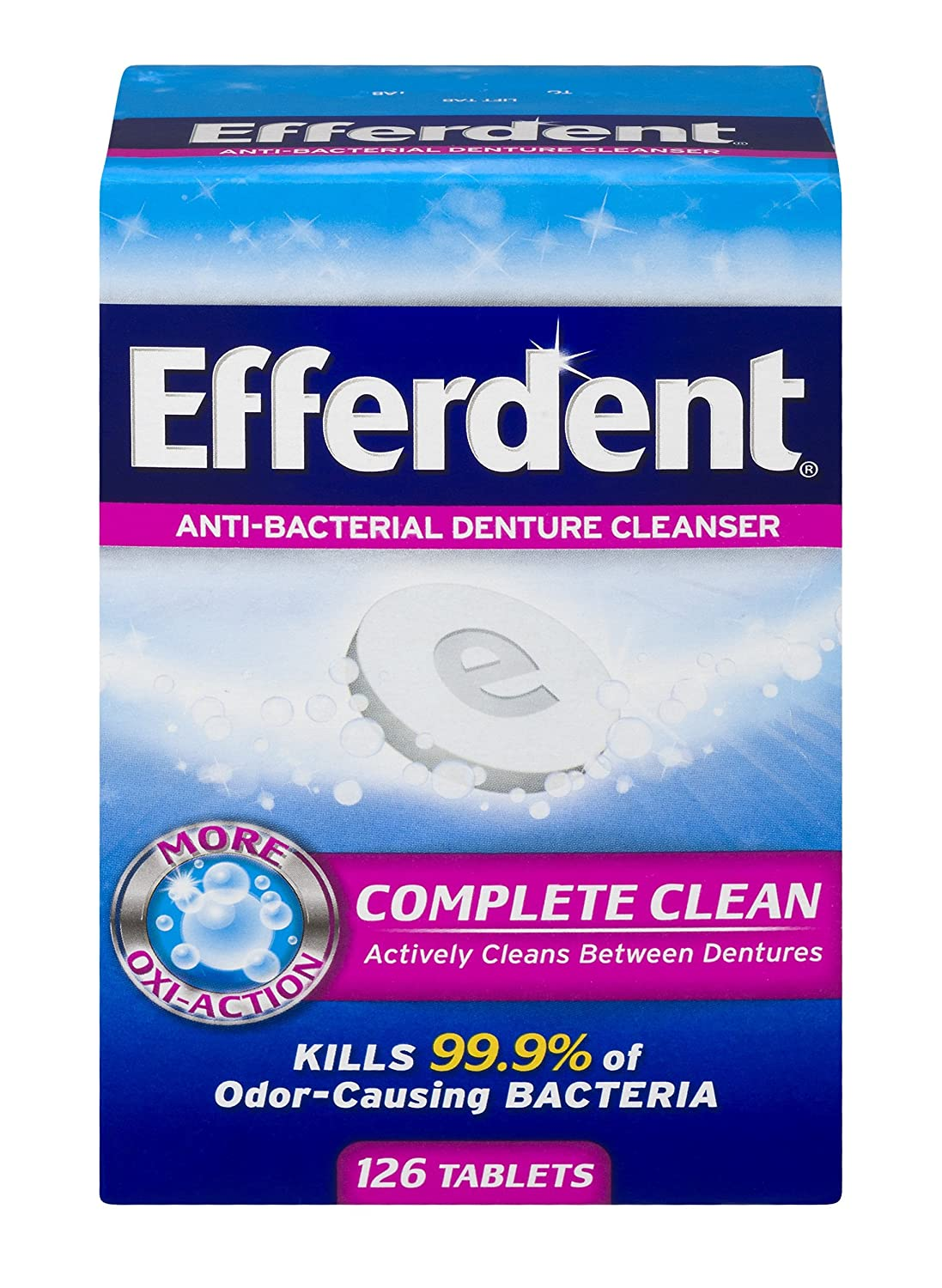 Efferdent Anti-Bacterial Denture Cleansers | 126 tablets | Actively Cleans Between Dentures Medtech Product Inc. 10814832015883A