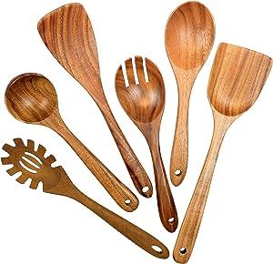 Wooden Utensils for Cooking, 6 Pack Organic Teak Wooden Spoons for Cooking Wood Utensil Set and Spatula for Kitchen
