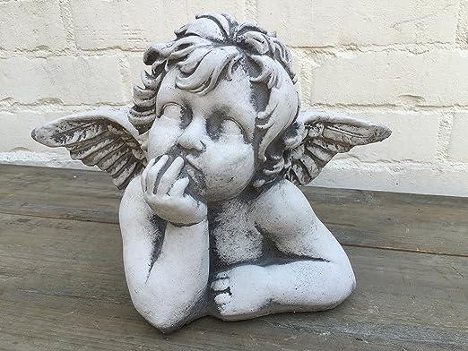 Steinfigur Engel Putten Vintage Gartendeko Witterungsbestandig Statue Buste H 21 Amazon De Kuche Haushalt