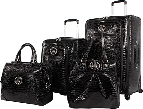 Kathy Van Zeeland Croco PVC Designer Luggage – 4 Piece Softside Expandable Lightweight Spinner Suitcases – Travel Set includes a Dowel and Shopper Bags, 20-Inch Carry On 28-Inch Suitcase Black