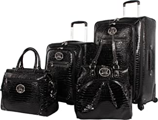 Kathy Van Zeeland Croco PVC Luggage Set 4 Piece Expandable Suitcase with Spinner Wheels (One