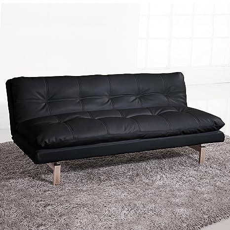 Adec - Sofa cama modelo Due, apertura tipo libro, tapizado símil piel color Negro, medidas: 180x96-110 cm de fondo