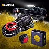 LAMPHUS 13' Off Road ATV/Jeep LED Light Bar Wiring Harness Kit - Waterproof Switch & Mounting Bracket 30A Fuse 40A Relay (USA Warranty)