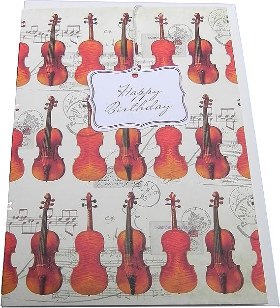 Tarjeta de felicitación del violín Feliz cumpleaños - tarjeta de ...