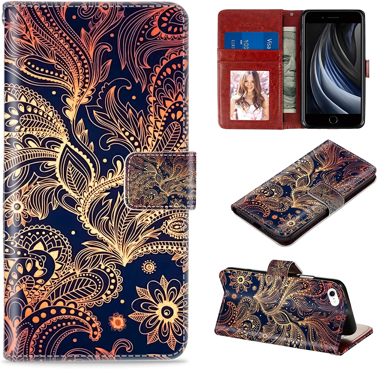 CASEHOME iPhone 7/8 /SE 2020 Wallet Case, Golden Phoenix Mandala Pattern PU Leather Flip Magnetic Cover Case with Card Slot and Stand Holder All-Round Protective Case Compatible with iPhone 7/8/SE2.